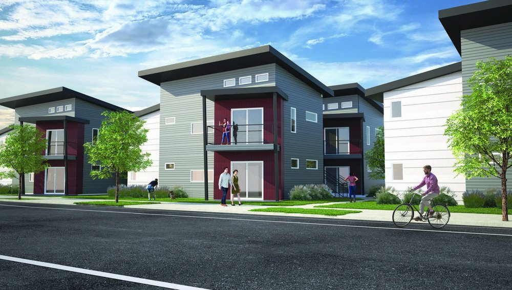 Current rendering of the Fourplex Apartments.