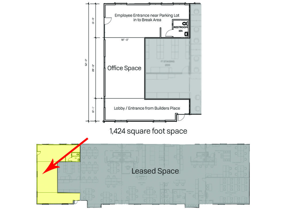 Floor plan showcasing available space remaining as well as location within the building.