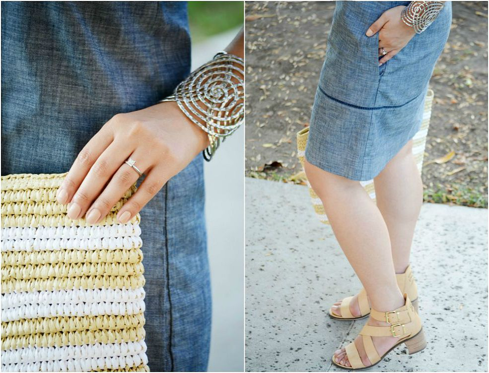 chambray gap dress, gap beach bag, steve madden shoes