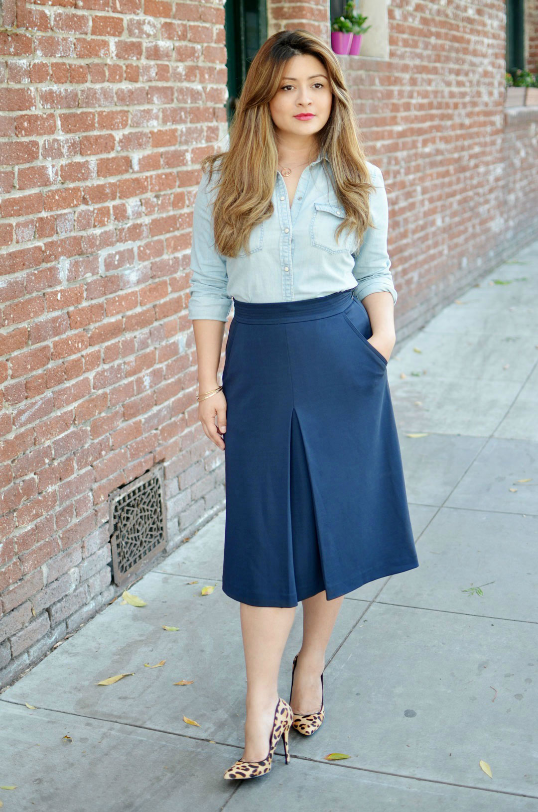 denim shirt with midi-skirt