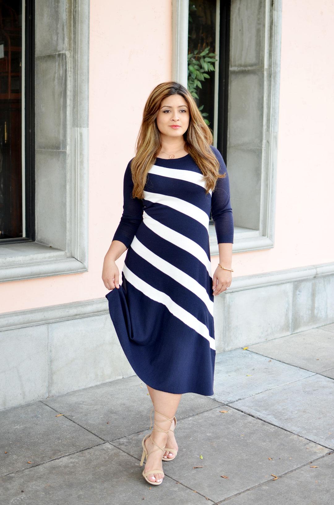 Ann Taylor Bias Blue White Sweater Dress