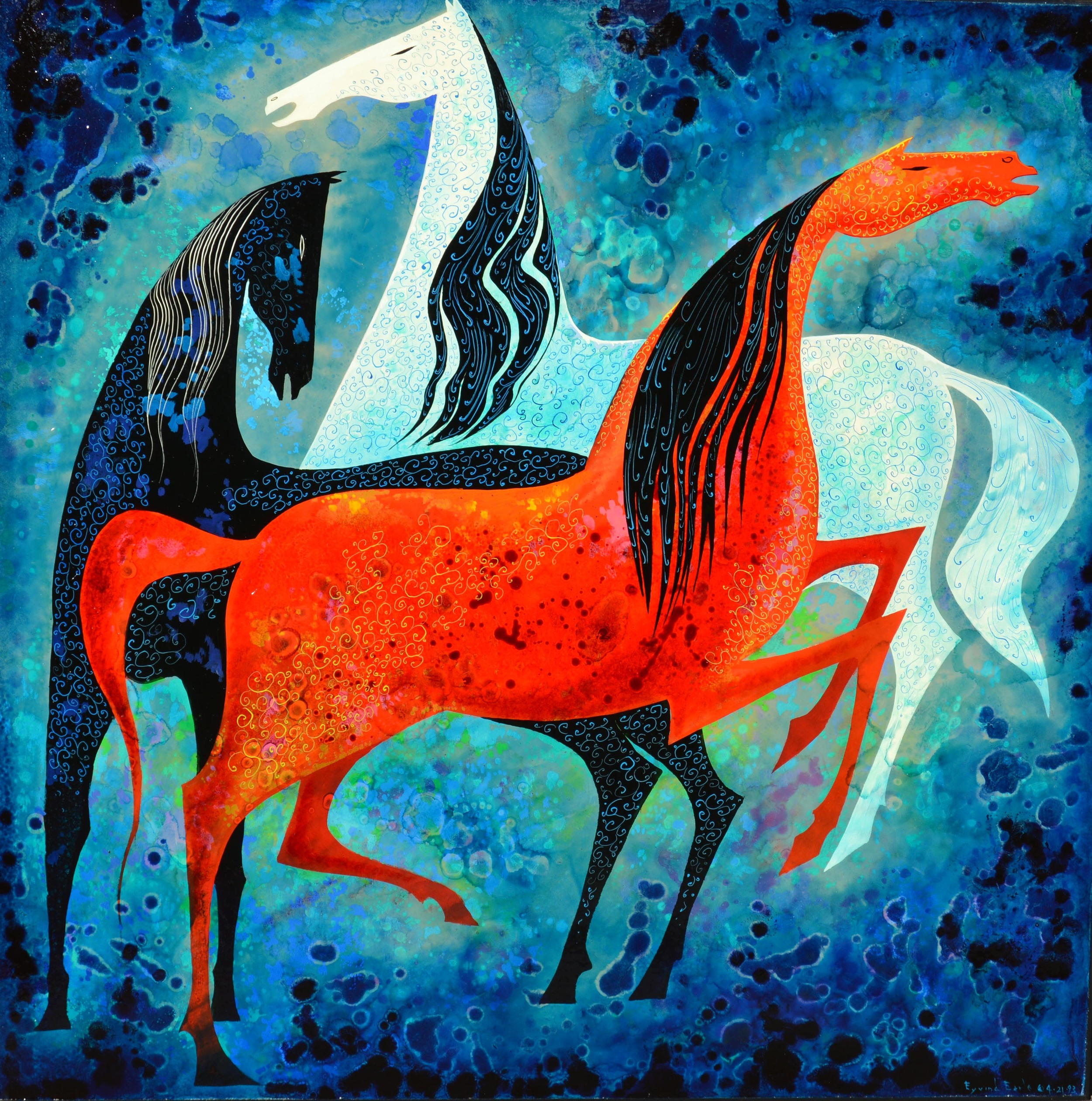 THREE NOBLE HORSES Eyvind Earle