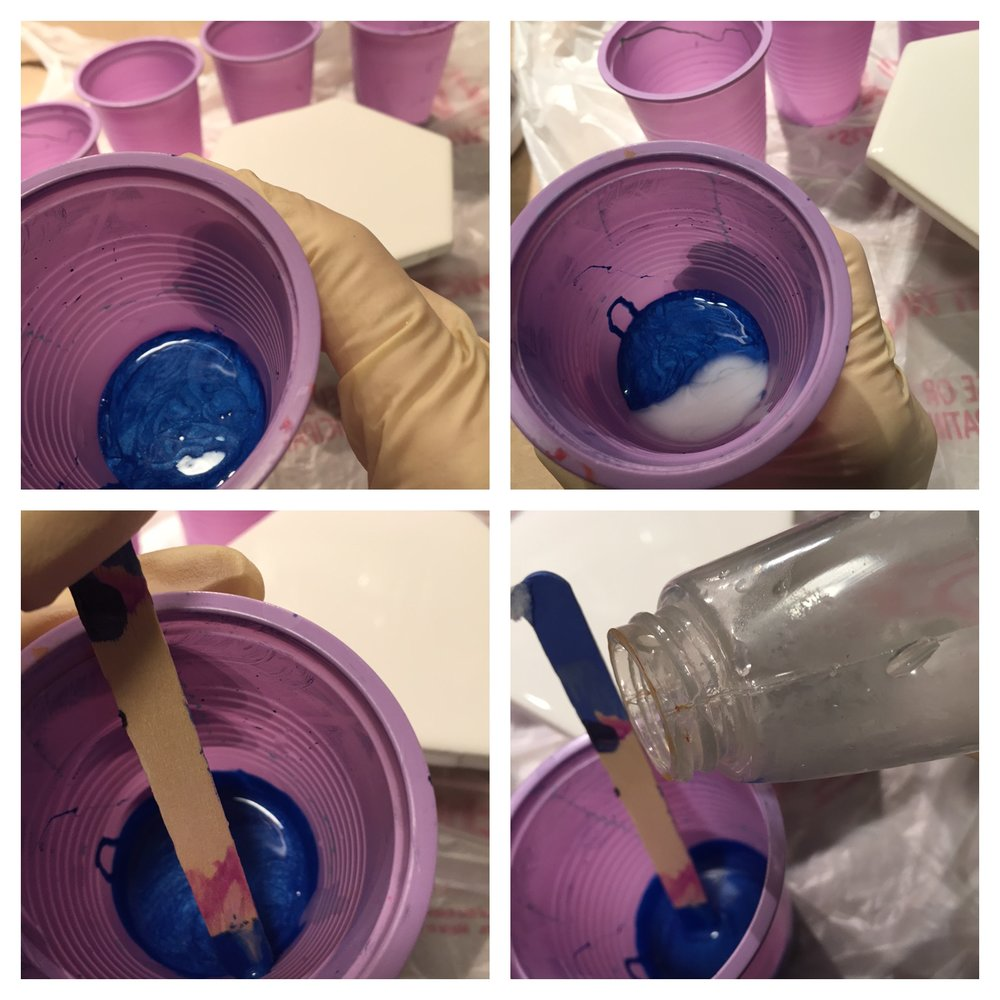 Images left to right:   1.  Add paint colors to individual cups  2.  Add Floetrol (I just guess at amounts but would estimate 1/5 ratio to paint - again, experiment)  3. Stir completely  4. Add tiny amounts of water and check fluidity