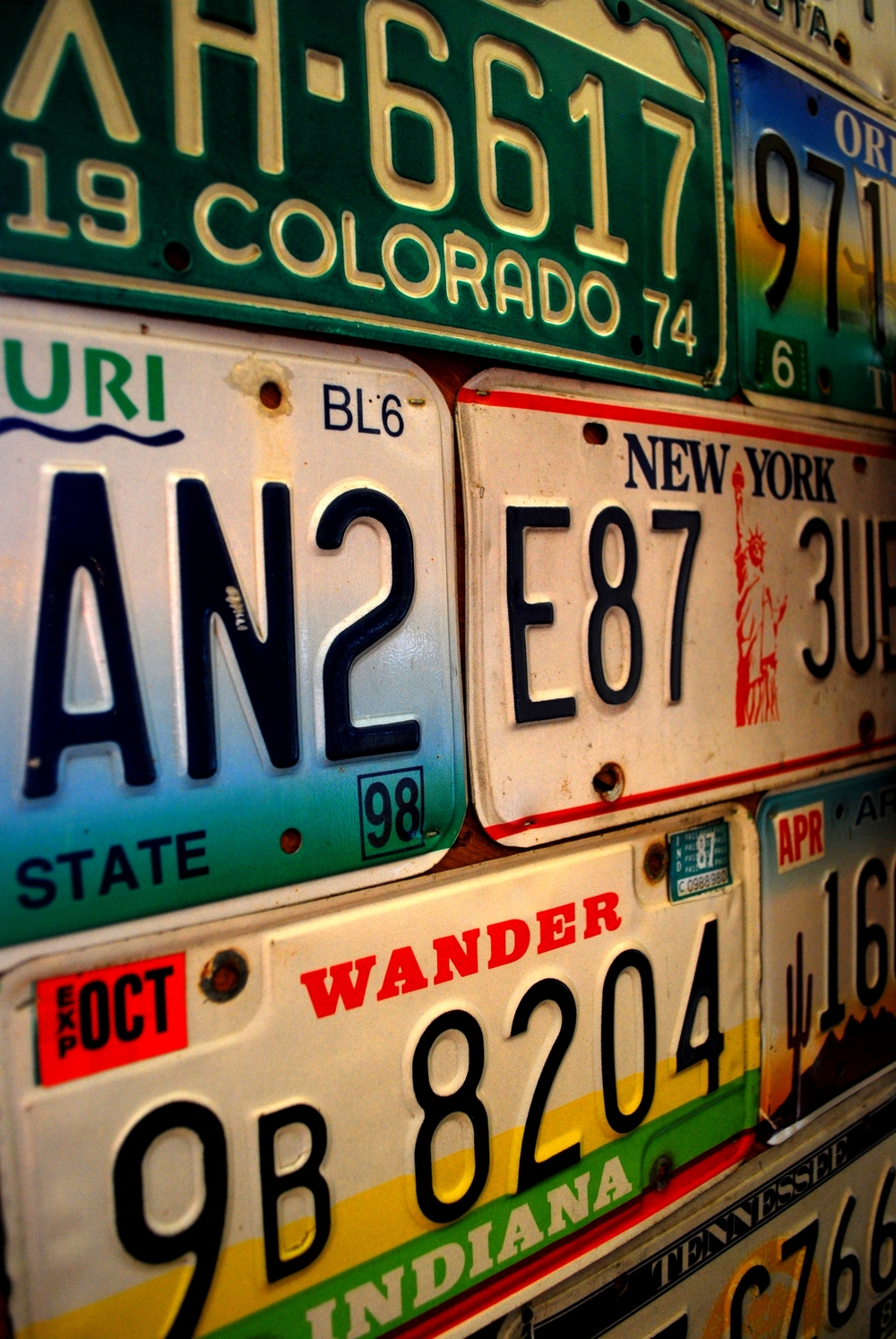 License plate wall - Oakridge, OR