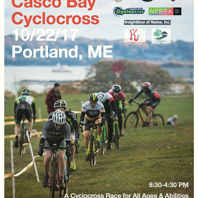The @bikemandotcom Casco Bay #cyclocross flyer looks great with @jenniferbattis photo! Happening October 22. Be there or be square. Cascobaycross.com