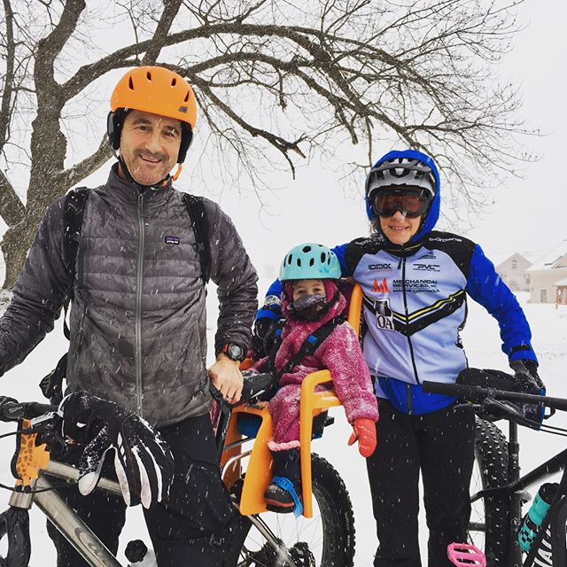 "It was ""take your kid fat biking day!"" Determined to get a family ride in, even in blizzard conditions. We didn't let the variable conditions keep us from playing.  #kingdomtrails #vermont #fatbike"
