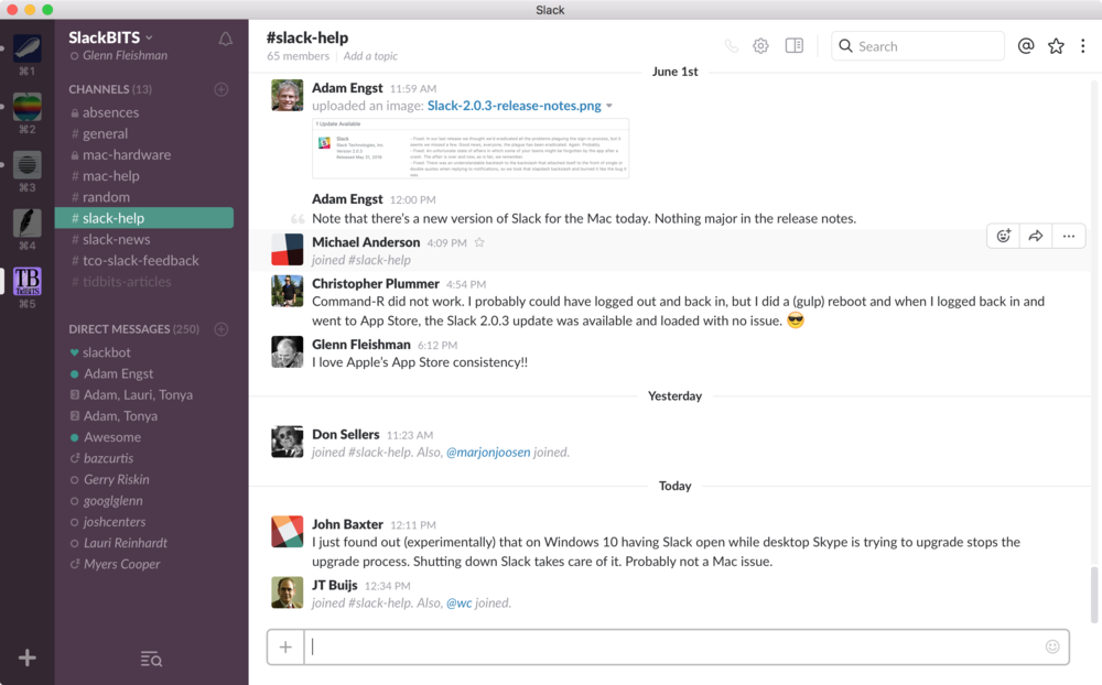 A typical Slack app window, showing multiple teams at left, a list of channels and conversations in the current team, and the active discussion in the currently selected channel at right.