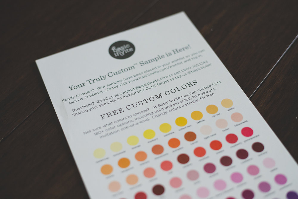 Basic Invite prides itself on providing you with Truly Custom samples tailored to your colors and unique style.