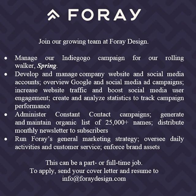 Join Our Talented Team!  #walker #beauty #rollator #industrialdesign #foraydesign #foray #design #aging #elderly #wheelchair #disability #disabilities #medical #health #healthy #healthyaging #healthyliving #healthylifestyle #livingwell #wellness #mobility #seating #prosperity #prosperous #functionality #transportation #freedom #travel #safety #physicaldisabilities