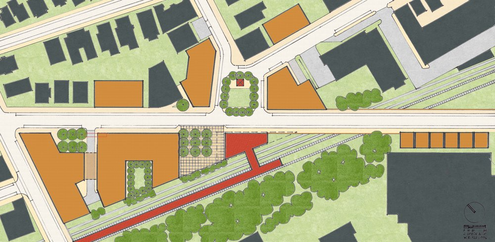 Illustrative site plan for the proposed Gilman Square, including new subway station (in red) and mixed-use infill development (in orange).