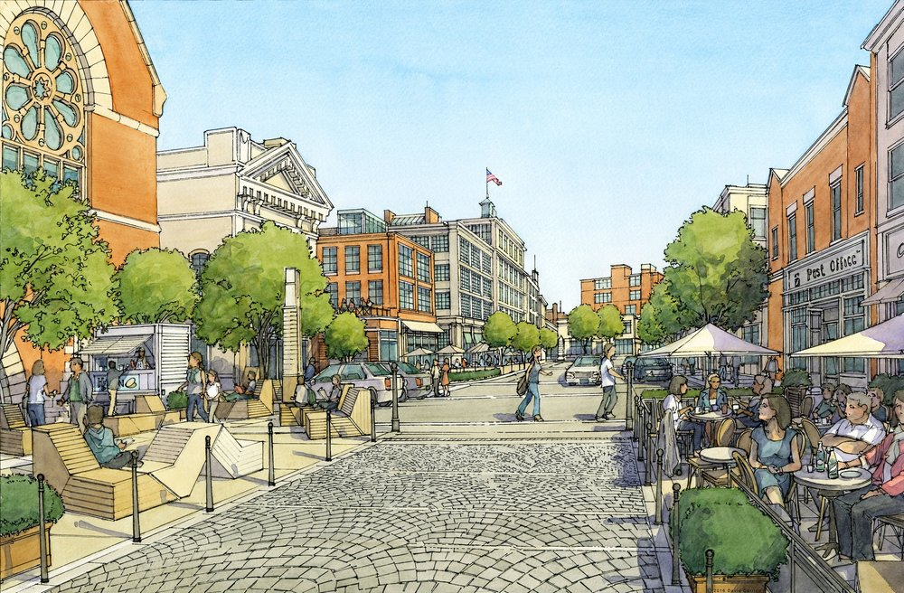 The proposed Union Square Neighborhood Plan includes shared space that provides equal access to cars, pedestrians, and cyclists.