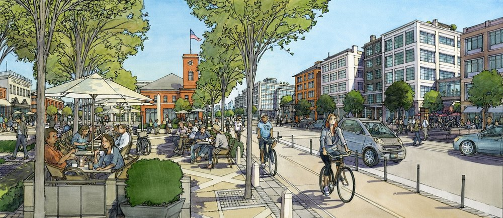 Complete streets, including cycle track and public plazas, are integrated throughout the proposed Union Square Neighborhood Plan.