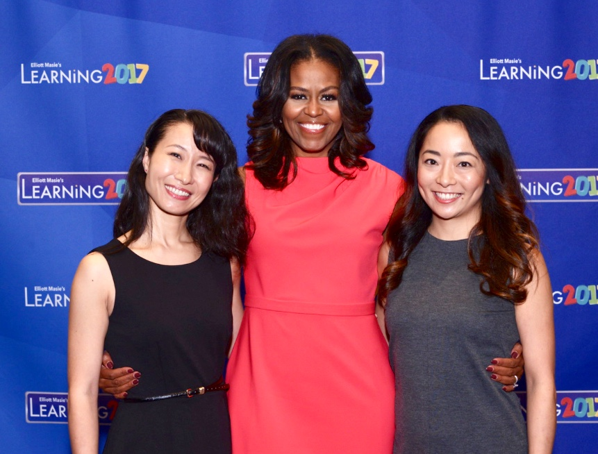 With Michelle Obama and Oyama's lead dancer at Leaning 2017