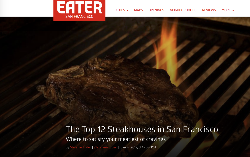 EATER SF TOP 12 STEAKHOUSES  -