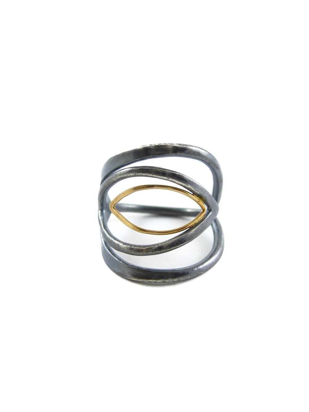 Marquise statement ring in oxidized silver and 18 karat gold - ethical metals - Sharon Z Jewelry RI-004-mix.jpg