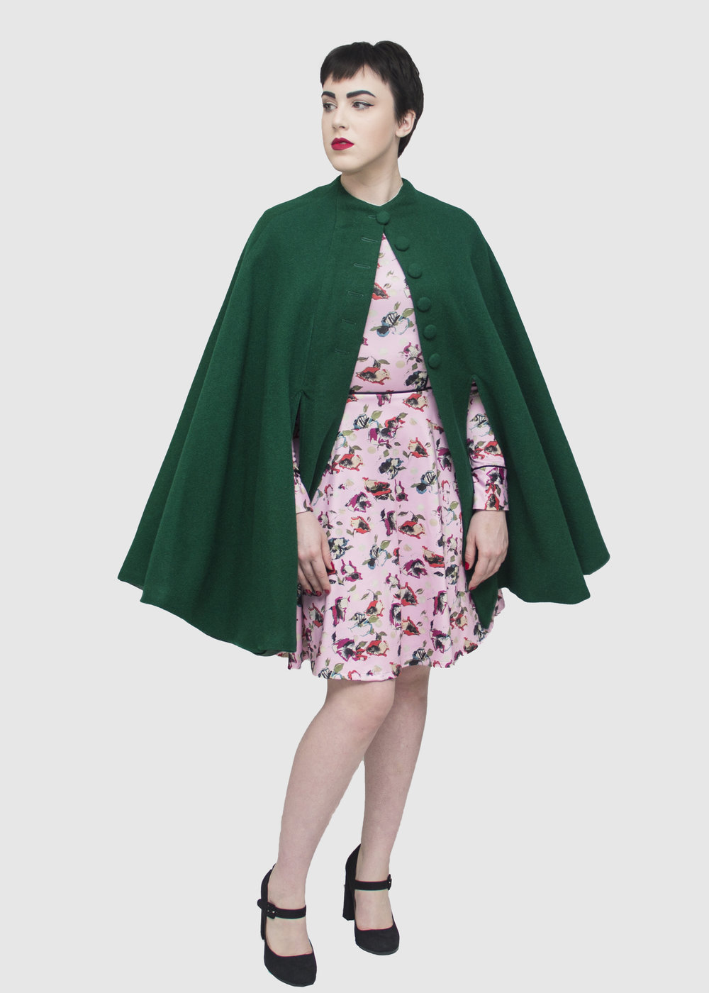 Maddy in adventure cape and in bloom dress front.jpg