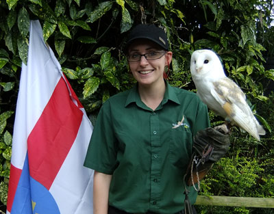 Falconer Jess and Cobweb the Barn Owl celebrated Suffolk Day on June 21st