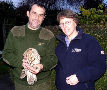 Ready for the 'off' - Heather, Andy and the recuperated Tawny Owl   before she was taken off for release