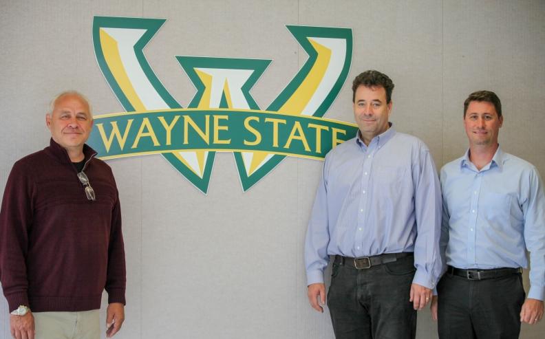 Mark Morsfield (left), chairman, president and CEO of Mitovation Inc., Maik Hütteman, Wayne State University, and Thomas Sanderson, University of Michigan.