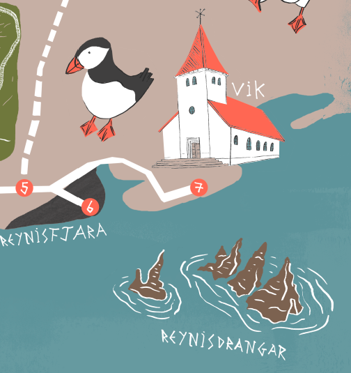 Vik - This section of the map features the iconic church that stands over the town of Vik, the black beach of Reynisfjara and the sea stacks of Reynisdrangar (known as the troll stones).