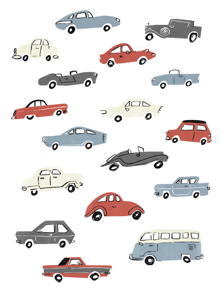 Retro car pattern - An unused concept for the Clintons Simply card range, aimed at a male audience, possibly for a Father's day card.