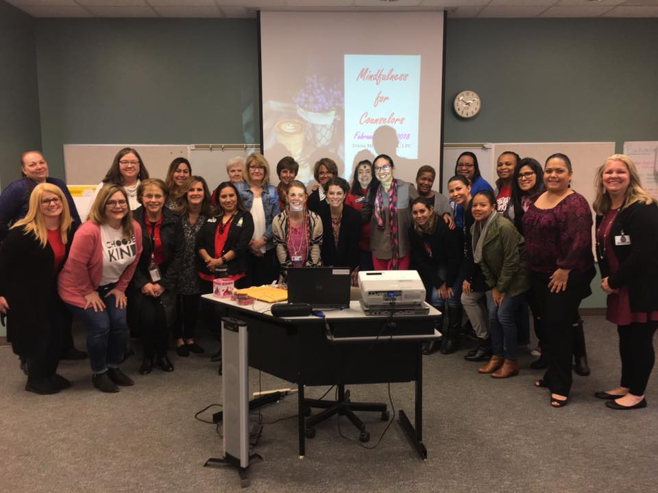 """Mindfulness for Counselors"" Presentation in Spring Branch Independent School District (SBISD) featuring Elementary School Counselors (February 2018).  As a Counselor in SBISD , I had the opportunity to train teachers, counselors, and administrators."