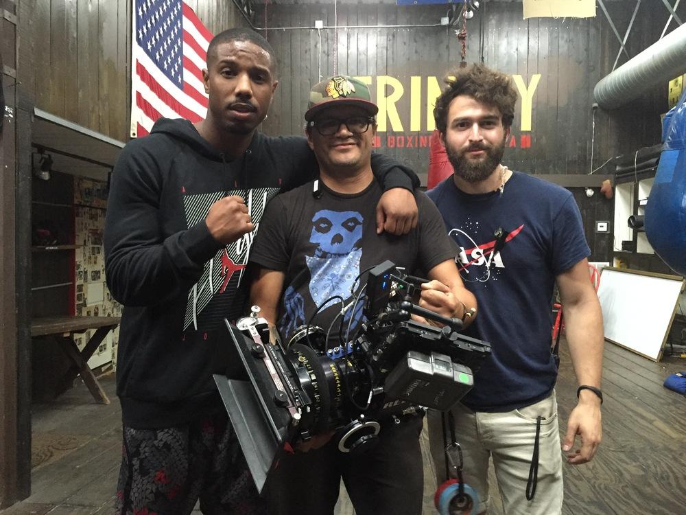 On set with Michael B. Jordan.