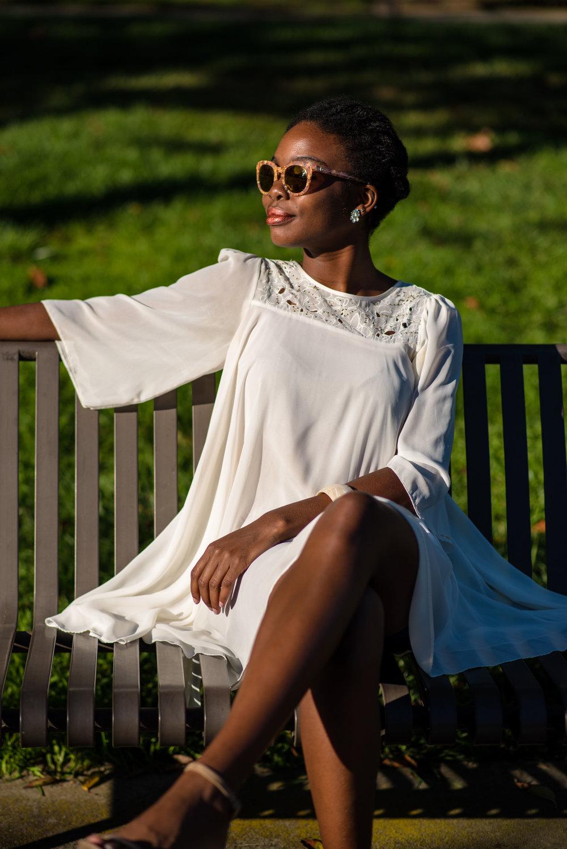 Dress: H&M; Shoes: Report (c/o Marshalls); Sunglasses: Dolce & Gabbana