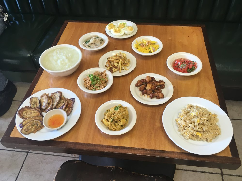 A nice Breakfast spread. - Pictured here are some items from the breakfast menu and this is what a typical spread would look like for two people.