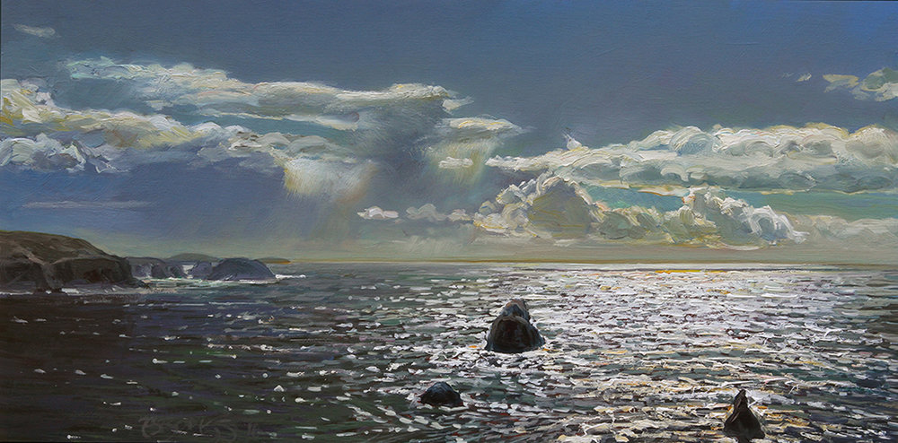 "HEAD LAND   10"" x 20"" oil on panel"