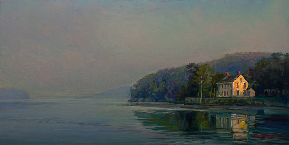 """MORNING SEQUENCE: RIVER   10"""" x 20""""  oil on panel"""