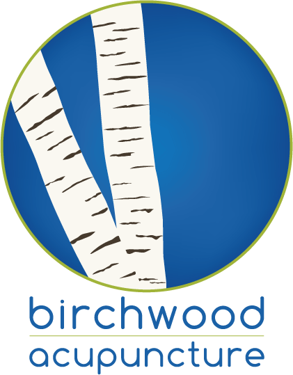 Logo. Graphic of two birch tree trunks in a green circle with a blue background. Blue text underneath reads: Birchwood Acupuncture.