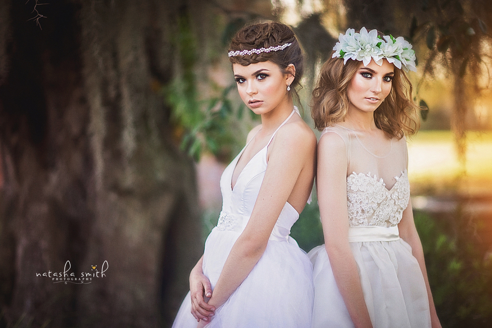Picture taken by Natasha Smith Photography.  Custom dresses by Krustallos Couture Bridal.