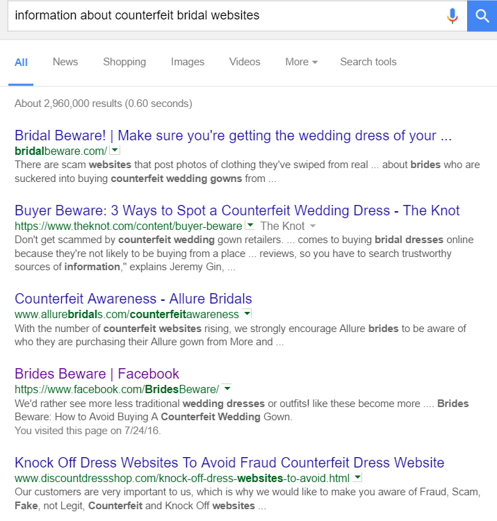 A quick search yielded many places to find information on online websites that sell counterfeit gowns.