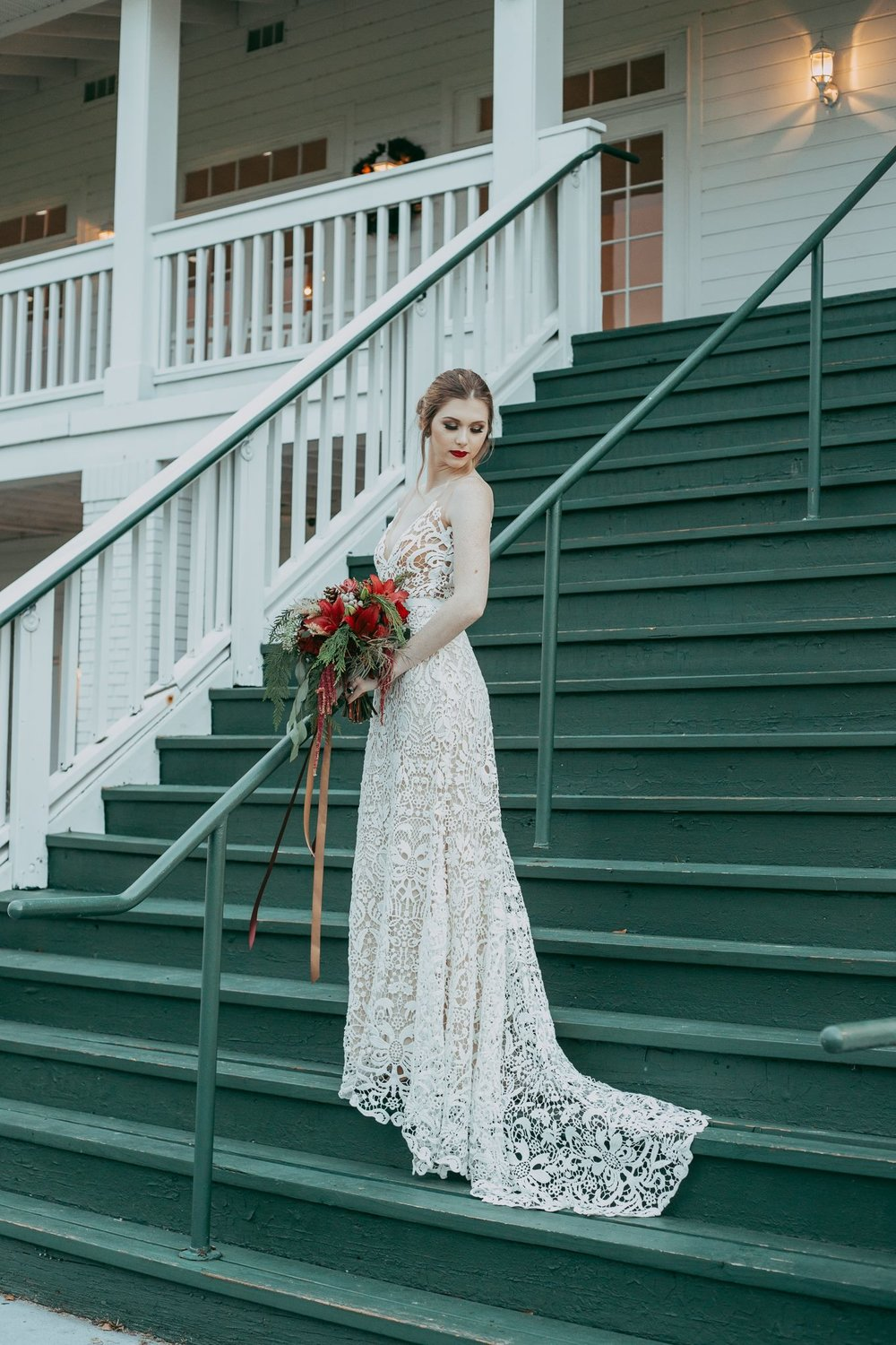 Jessica Gown - From the Fall 2018 Collection - lightest ivory crochet lace lined in a nude silk crepe.  V-neck lace bodice gown with illusion straps. Sits low in the back. Fit and flare style with gorgeous train.  Invisible zipper closure. Each dress is made by hand in the USA by our designers.  We hand picked the pattern of this lace and what a gorgeous look indeed!
