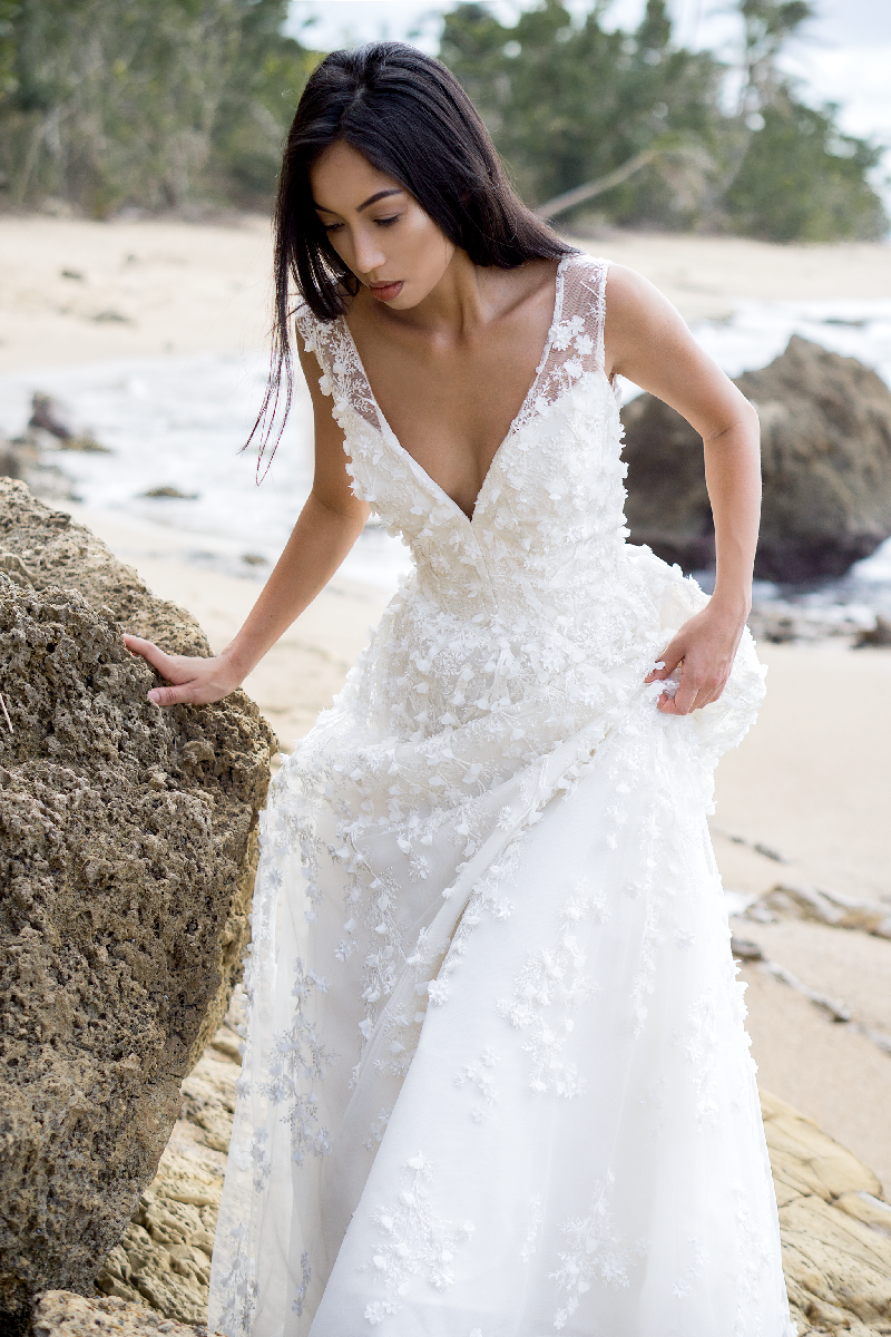 Andreia Gown, Silk Organza, 3d beaded Lace, fitted semi sheer bodice with plunging neckline, pockets.