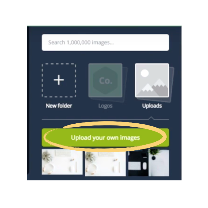 Canva upload images button.