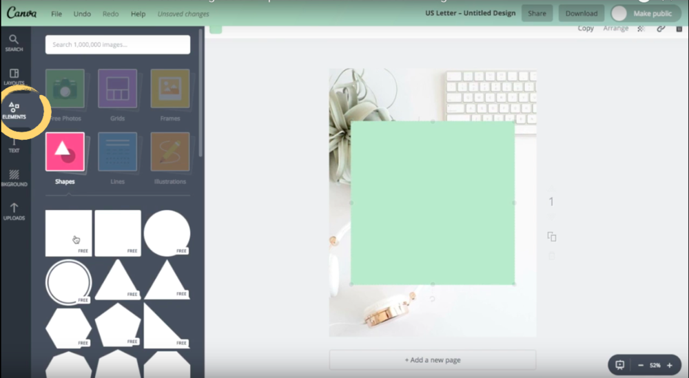 How to add and use a shape element in Canva.
