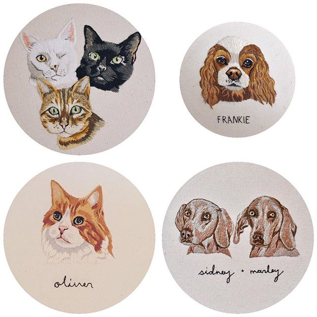 """Hey folks! As you maybe gathered by my latest posts including three cats in one hoop, I am now excited to offer one more sizing option! As shown above, there is the 4"""" mini, and then the 6"""" hoop which can accommodate 1, 2, or now 3 pets! Of course it will cost a little more for 3, but I've also decided to lower the prices on just 1 in a 6"""". Y'all keeping up with this? Have I lost you?! If you're still interested (and still reading, for that matter) be sure to join my mailing list! Info about my next shop update will be coming after the long weekend. Also I've decided to keep shipping free worldwide 🤷🏻♀️ WHY NOT! 😘"""