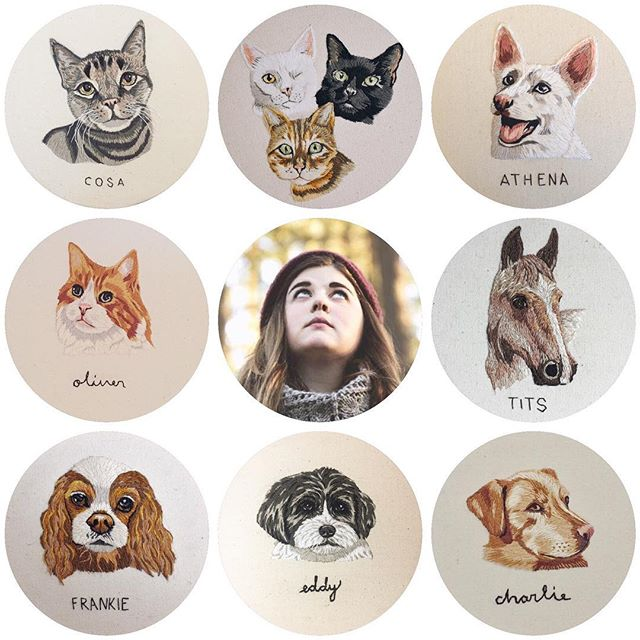 Hopping on this #artvsartist trend because I rarely show my face around here! Hello! My name is Alex and, as you can see, I hand-embroider pet portraits. I also work in a library and will be starting my Masters of Library Science in the fall! And no, I have no plans to stop embroidering any time soon... just maybe slowing down a little 😘