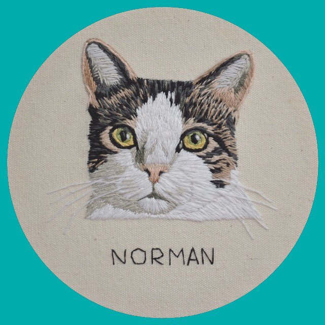 Another darling cat done... and looks suspiciously like the Chandler I just stitched, no?
