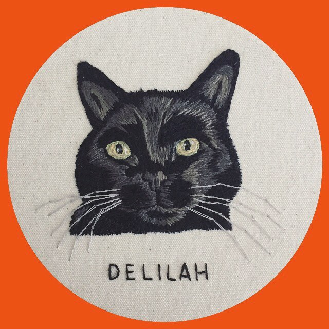 """I love love love stitching all black cats 🖤🖤🖤. One more mini down! Lately it's been all 4"""" cat portraits and lemme tell ya, I'm into it! Also I'm still taking on commissions if you're interested! Check out the FAQ portion of my highlights or just shoot me a DM! 🤓"""