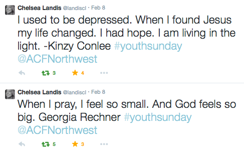 ACFw Youth Sunday tweets