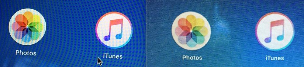 Left: Macbook Pro display; Right: MacBook Air