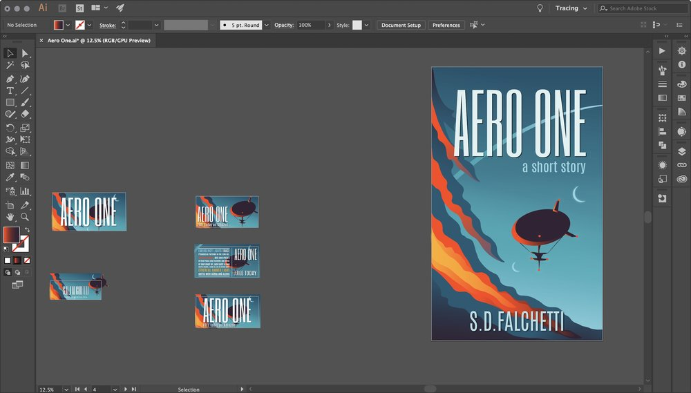 Pro tip when doing your own design in Illustrator: also design social media graphics, like the cluster on the left of Facebook and Twitter cards designed for ads and free promotions.
