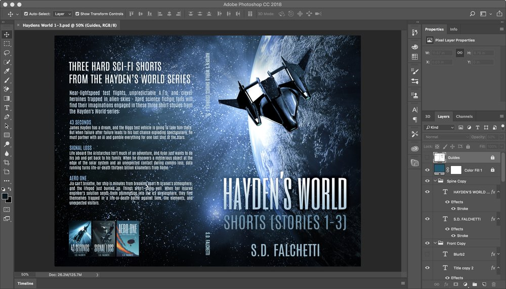 Paperback cover design in Photoshop for Hayden's World Shorts. Background planet is a licensed Adobe stock photo.