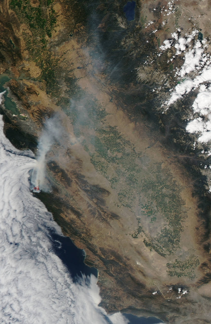View of Soberanes Fire, California from space, August 2016. The resulting road closure detoured our road trip to Los Angeles for oral history interviews.