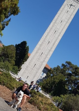 My dog, Glacier, and I saying farewell to the Campanile, UC Berkeley.