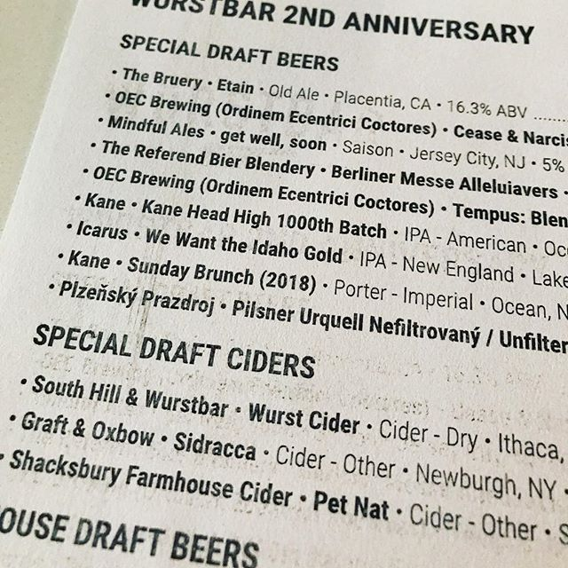 The 2nd Anniversary tap list!  Get after it Jersey City, we love you.