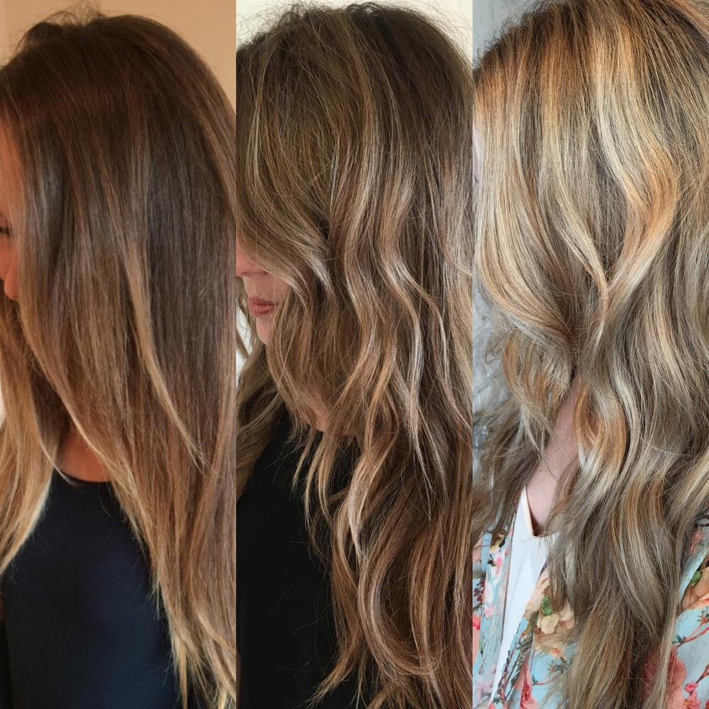 this is a progression picture of 3 different appointments of balayage. soft, beautiful, and organic.